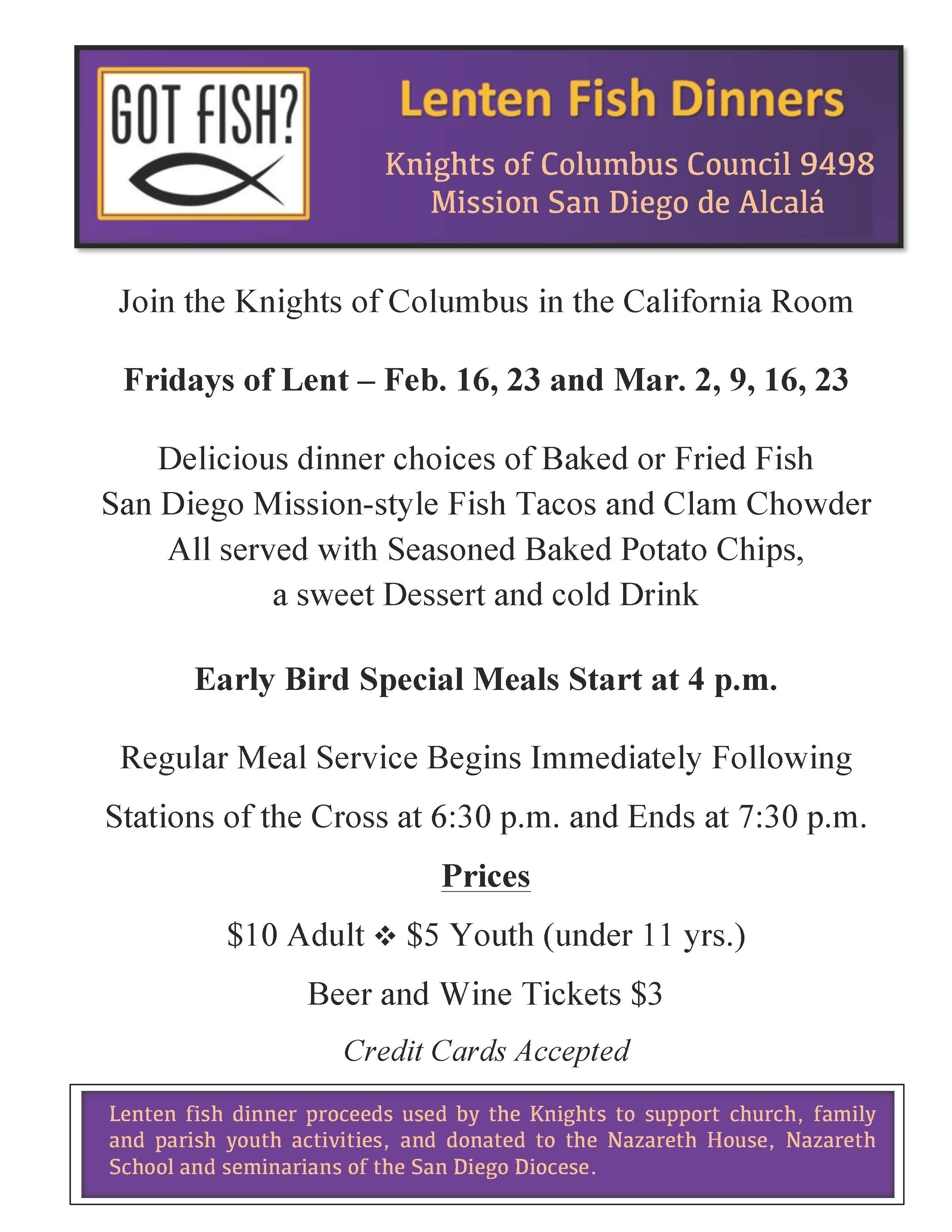 Knights of Columbus Council #9498 Fish Dinners of Lent