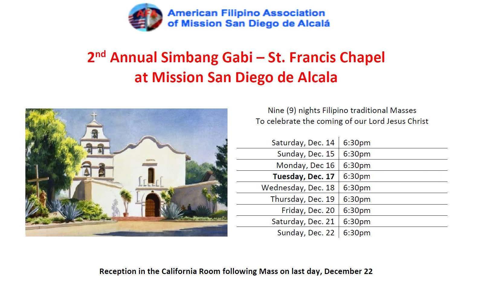 2nd Annual Simbang Gabi at Mission San Diego