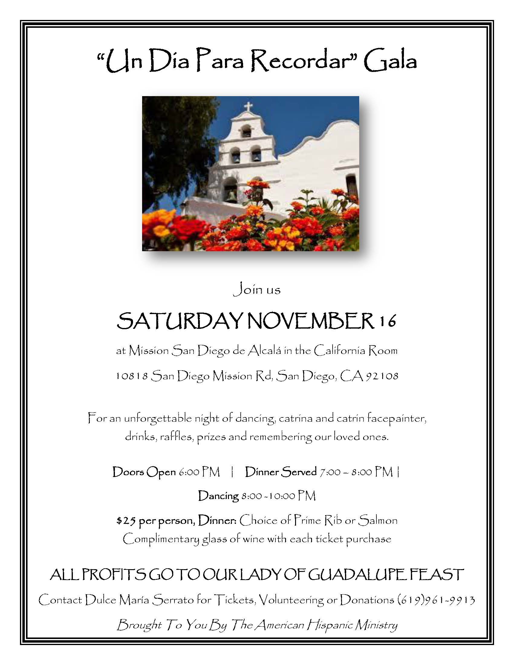 A Day to Remember Gala - Fundraiser for Our Lady of Guadalupe Feast Day Celebration