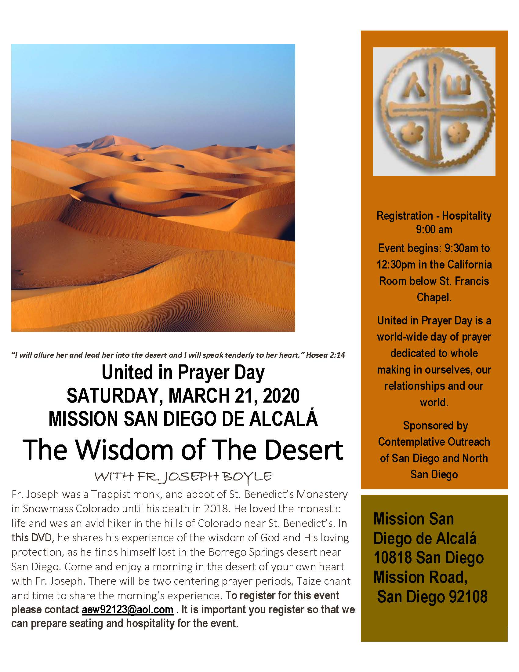 Canceled - United in Prayer Day - The Wisdom of the Desert