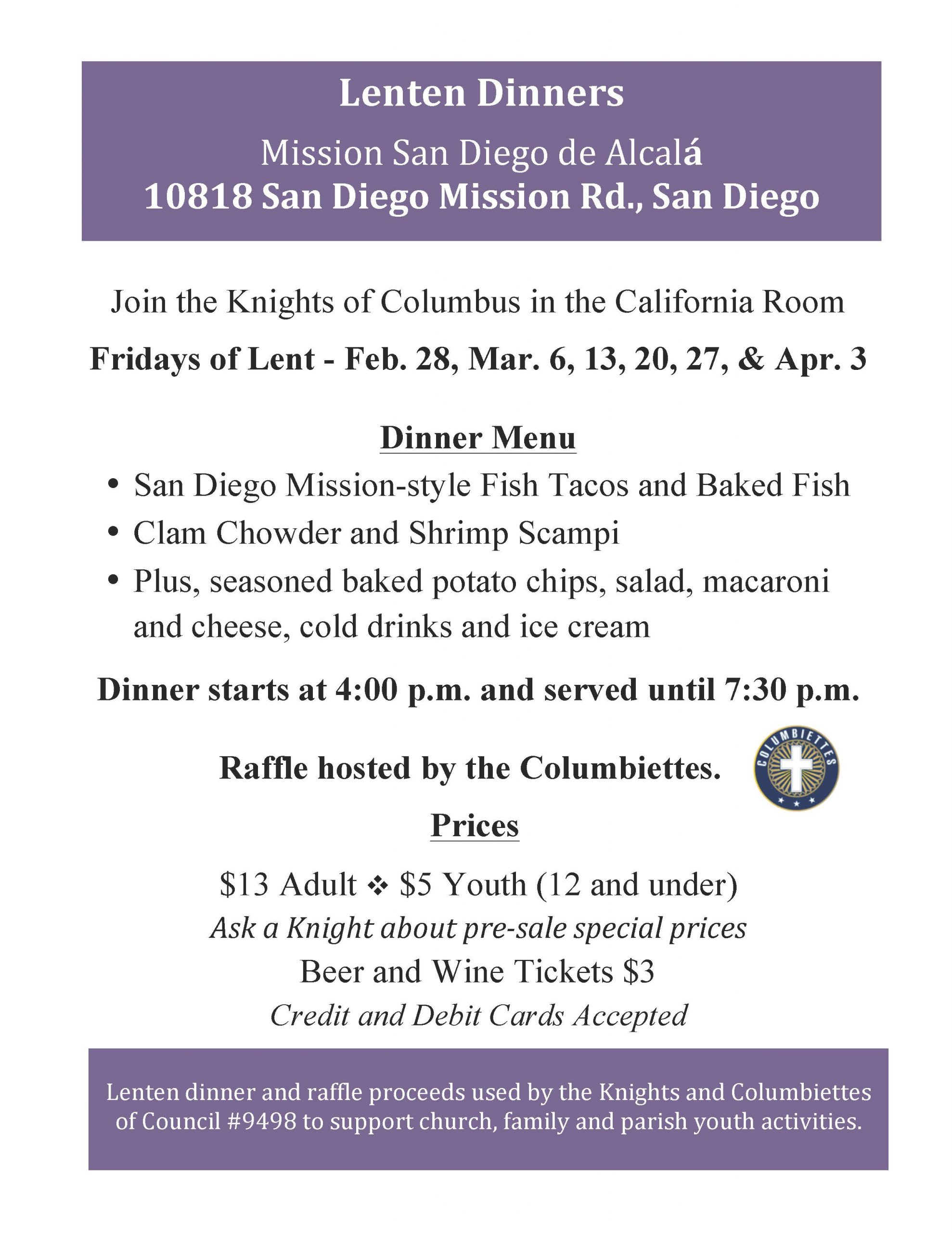 Knights of Columbus Fridays of Lent Dinners
